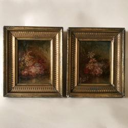 """Paire d'huiles sur carton """"Bouquets de fleurs"""". XIXe"""
