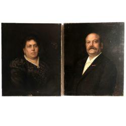 E. Vanhove : paire d'huiles sur toile représentant un couple et daté 1898
