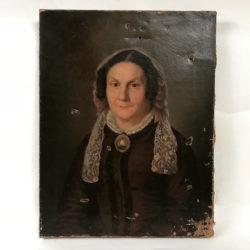 Huile sur toile  portrait de femme.