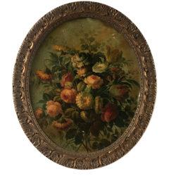 """Huile sur carton ovale, """"Bouquet de fleurs"""" dans le goût du XVIIIe."""