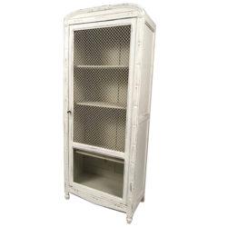 Petite armoire une porte grillagée en partie haute et verre en partie basse.