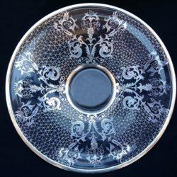Coupe en verre décorée d'argent 50's