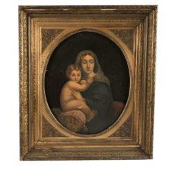 """Ecole italienne vers 1900. Huile sur toile, """"Vierge à l'enfant"""""""