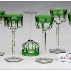 Série de 6 verres à vin du Rhin Roemer en cristal doublé de Baccarat Malmaison coloris vert