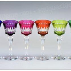 Série de 6 verres à vin du Rhin (ou Roemer) en cristal de Baccarat modèle Piccadilly