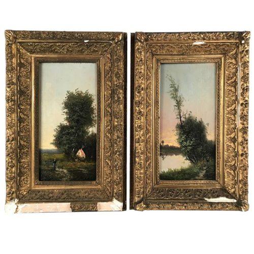 paire huile sur panneau paysages