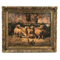 huile sur toile XIXe moutons